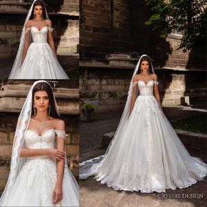 Abiti da sposa di design di cristallo 2018 Off the Shoulder Bustier pesantemente pizzo decorato corpetto principessa Una linea Ball Gown abiti da sposa