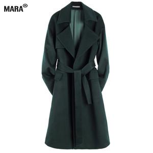 Atacado-Novo Inverno Mulheres Longo Casaco De Lã Solto 2016 Nova Moda Plus Size Turn-down Collar Casaco de Lã de lã Outerwear manteau femme