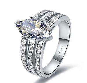 정품 Marquise 모양 3CT 보장 스털링 실버 화이트 골드 컬러 약혼 합성 다이아몬드 반지 여성 쥬얼리