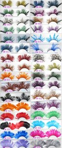 Оптовые международные цветные перья преувеличенными накладные ресницы, моделирующих изобразительное искусство показать цветные ресницы этап расширения Makup
