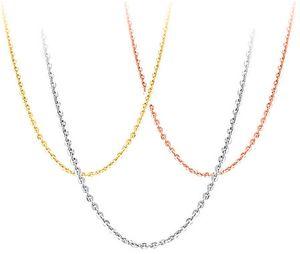 925 gümüş kolye diy kolye gümüş kadın takı çapraz zincir beyaz altın parlak altın gül ince moda zincirleri uzatmak 40 + 5 cm 6 adet