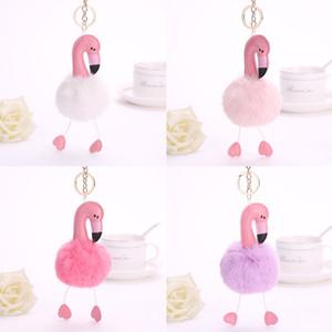 14 Cores Bonito Dos Desenhos Animados Flamingo Pom Pon Chaveiro-Lovely Fluffy Fur Bola Chaveiro Chaveiro-Mulheres Menina Bolsa Pingente de Presente Do Partido