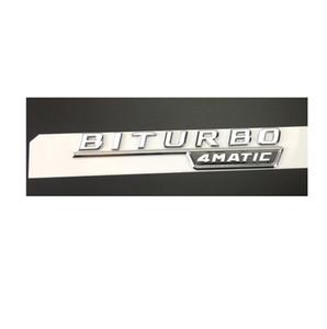 """메르세데스 벤츠 크롬 """"BITURBO 4MATIC""""편지 트렁크 엠블럼 스티커 2 개 세트"""