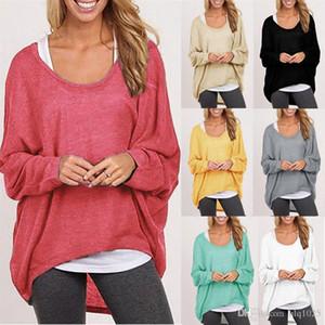 Осенние женские блузка Batwing с длинным рукавом повседневная свободная сплошная вершина рубашки свитер плюс размер бесплатная доставка