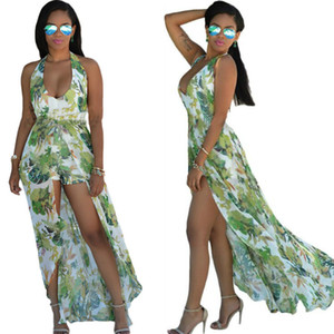 2016 Hot Summer Élégant Floral Impression En Mousseline De Soie Maxi Robe Sexy Casual Plage Femmes Fente Barboteuses Longue Dos Nu Bandage Robes Style Bohème