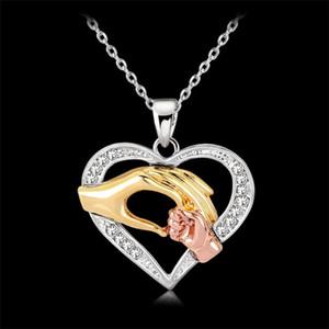 Amour coeur maman bébé en main pendentif chaîne collier Cubic zircone Thanksgiving Colliers cadeaux bijoux pour la fête des mères