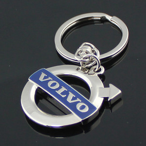 5 unids / lote Nuevo volvo xc60 / 90 / s40 / 60/80 Moda Recorte emblema llavero auto suministros coche Volvo llavero llavero colgante anillo automóvil logotipo azul