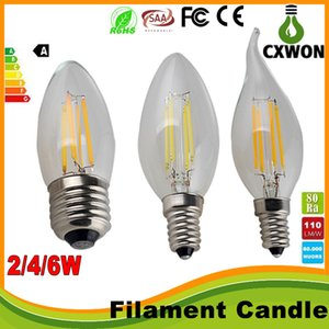 Edison Filament Dimmable Led Candle Lamp 2W 4W 6W E14 E12 Led Bulbs Light High Bright E27 candle light