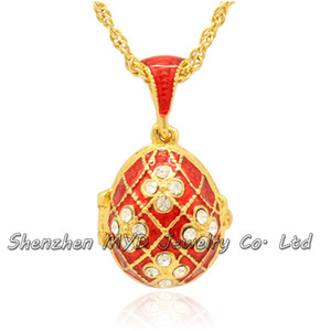 Wholesale fashion jewelry findings woman handmade enameled Easter Day Faberge egg pendant locket necklace hand enamel with gold plating