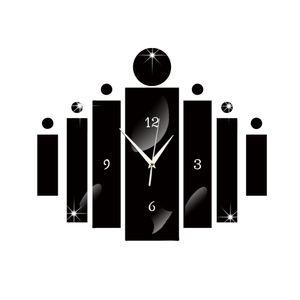 2016 nouvelle aiguille miroir horloge murale salon quartz acrylique design moderne 3d bricolage montre horloges autocollants livraison gratuite horloge TY2004