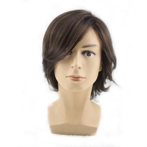yakışıklı adam kaliteli erkekler için WoodFestival kısa koyu kahverengi peruk doğal saç sentetik kısa Cosplay erkek elyaf saç perukları