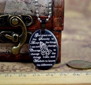 A estrenar 20pcs negro inglés The Serenity Prayer acero inoxidable Oval colgante collares con cadena al por mayor lotes