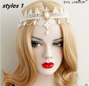 Han edition popular headdress fashion bride lace with pearl forehead headband accessories