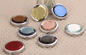 300pcs 7cm miroir de maquillage pliant miroir compact avec cristal, miroir de poche en métal pour miroir de cosmétiques cadeau de mariage