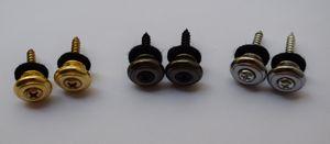 Funghi 12PCS Metal Head Guitar Strap Buttons Strap Locks parti della chitarra di colore in oro / Black / Chrome