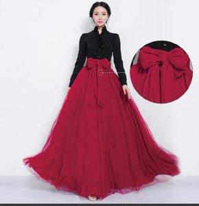 Atacado-NEW Mulheres Malha Chiffon Plissado Princesa Longo Maxi Elastic Waist Saia Vestido