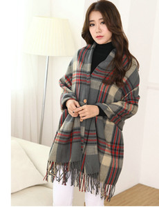 2018 Time-limited Top Fashion >175cm Fashion Brand Winter Scarf for Women Female Plaid Cashmere Warm Square Shawl And Scarf,woven Poncho