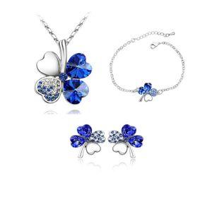 Новая мода Four Leaf Clover Подвеска Ожерелья Ювелирные наборы Австрия Циркон Кристалл Ожерелье + серьги + браслет Love Heart Женщины Jewellry