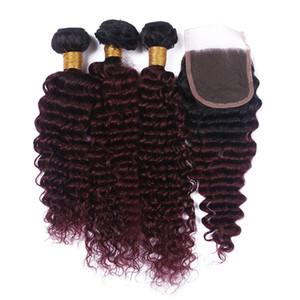 Şarap Kırmızı Ombre Derin Dalga Saç Demetleri Ile Dantel Kapatma Ücretsiz Orta kısmı # 1B 99J Bordo Saç Paketler Için Dantel Kapatma Ile Kadın