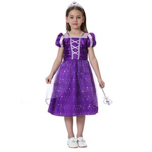 Nuevo vestido 2017 del traje de Cosplay de los niños Rapunzel vestido de lujo para niñas Película púrpura princesa del cuento enredado Impreso Encaje