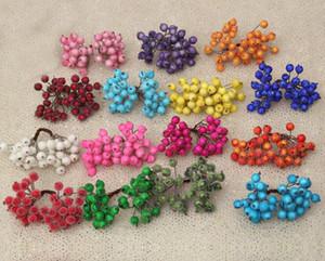 20 unids / 40 cabeza mini frutas falsas bayas de vidrio granada artificial cereza roja ramo estambre de navidad cabezas dobles decorativas