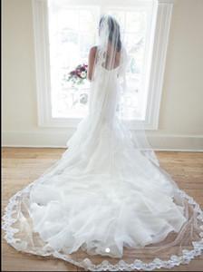 New Top Quality Best vendita One Layer Cathedral breve bianco avorio pizzo applique velo da sposa pezzi per abiti da sposa