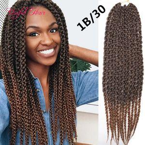 22inch de la trenza sintética barata en paquetes 3D trenzas de ganchillo de torsión cúbico extensiones de cabello ganchillo cúbicos pelo 120g ombre trenzando trenzas de cabello caja