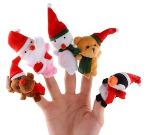 Christmas Santa Finger Puppets Cloth Doll Santa Claus Animal Toy Babies Storyteller Talking Props Infant Educational Finger Puppets