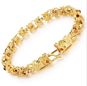 2016 Nueva Moda nuevo 24 K oro amarillo plateado hombre pulseras Vintage Dragon Head Style Chain Link hombres pulsera joyería 22CM largo KS445