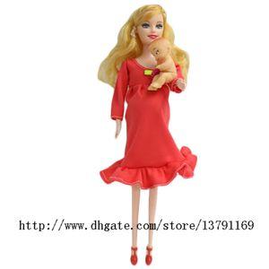 Bébé Jouet réel enceintes Suits Doll Mom Doll ont une bébé dans son vivant Tummy Doll Earyly éducation Reborn famille Toy Rose