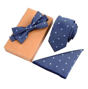 3PCS Delgado Tie Set Hombres Pajarita y Pañuelo Corbata Bowtie Cravate Homme Noeud Papillon Hombre Corbatas Hombre Pajarita