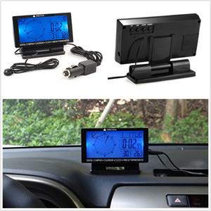 """Boussole numérique dans la voiture 4.6 """"Affichage LCD LED bleue avec calendrier thermomètre horloge"""
