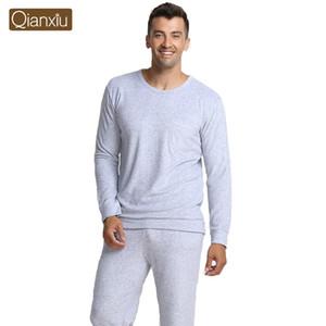 Großhandels-Qianxiu Marken-Pyjamas strickte Bambusfaser-Ausgangskleid plus Größen-Mann-Pyjama-Satz freies Verschiffen