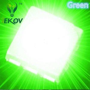 10000 adet 5050 PLCC-6 Yeşil LED SMD vurgulamak ışık yayan diyotlar 3.0-3.2 V Yüksek kalite SMD / SMT Çip lamba boncuk Toptan