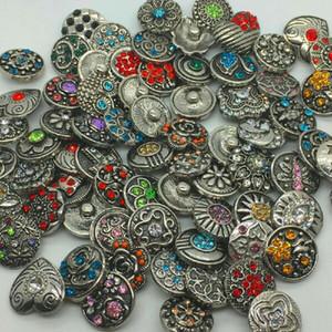 Ретро 18мм металл Snap кнопки горный хрусталь смешанный стиль бижутерия Нуса DIY ювелирных Fit Snap кнопки Нуса кусок браслет 100шт много