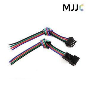 10 juegos de conectores JST macho hembra LED con cable de 15 cm 4 pines 22AWG RGB en un lado para tiras de luz LED de 3528 5050 RGB