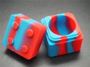 10pcs / lot jarres antiadhésives colorées assorties de récipient de concentré de silicone carré