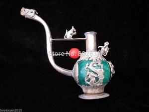 Großhandel chinesische alte Handmade Grün / Rot Jade Tibet Silver Dragon Rohr Statue Führende