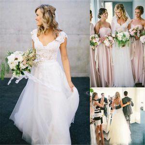 Design a buon mercato con scollo a V Boemia Hippie Style Abiti da sposa in pizzo Appliques Boho Chic Beach Country Abiti da sposa