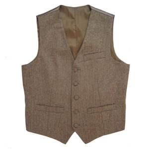 2019 Tweed rústico de la vendimia de la boda del chaleco del chaleco de Brown verano de los hombres delgados del invierno forma llevar camisas de vestir chalecos más el tamaño del novio 6XL