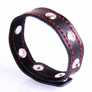 Регулируемый размер петух кольцо заклепки кольцо пениса натуральная кожа кнопка петух кольцо черная красная линия рукав пениса anneau пенис секс продукт