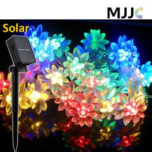 Güneş Açık Lotus Çiçek Dize Işıklar 30 50 LEDs Güneş Enerjili Peri Işıklar Çiçeği Dekoratif Işık Noel Düğün için su geçirmez
