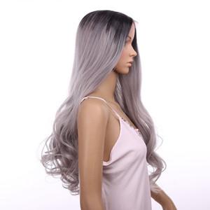 Синтетический парик фронта шнурка большая волна вьющиеся 18 дюймов ломбер тон цвет BlackGrey жаропрочных парики волос