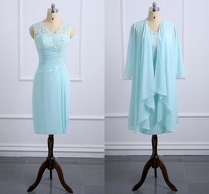 2020 Формальное Mint Green мать невесты платья с шифона куртка аппликациями шнурка Ruched колен Вечерние платья Свадебное платье для гостей