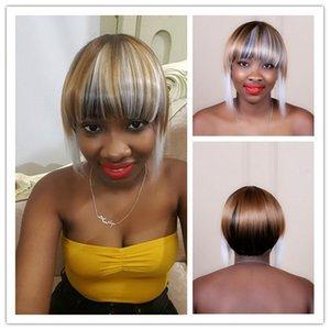 Сю Чжи Мэй 10 дюймов прямой белый коричневый подчеркивает короткие волосы с аккуратными челкой синтетические Великобритания ломбер парики для женщин