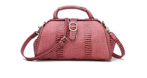 KISSUN Factory Vintage Pink Boston Bolso para mujer Veg bolso de hombro bronceado Cross Body Handbag Classic Design Pure Leather