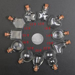 30pcs Clear Wishing Bottle Pendants Empty Corks Glass Hand-Blown Vial Necklace