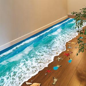 Romántico Mar Beach Piso Etiqueta Beach Simulación 3D Decoración de la etiqueta para la decoración de baño Habitación Sala Telón de fondo etiqueta de la pared