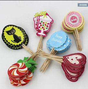 48 PC!Cartoon cake children birthday parties baking supplies decorative paper insert card