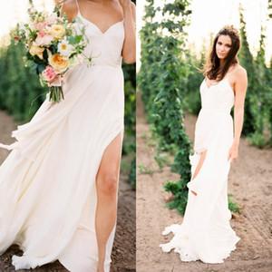 Sexy engagement Robes dos nu Jardin Robe de mariée bretelles en mousseline de soie Flowing robes de mariée avec Split et balayage train